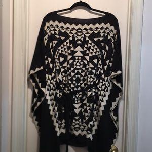BCBG silk geometric blouse.